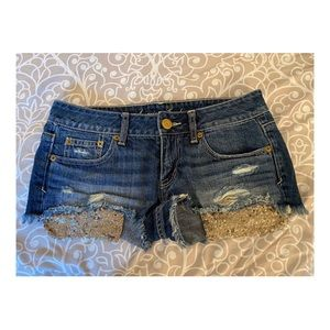American eagle jean shorts with gold